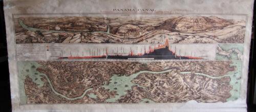 Large 1900 Era Panama Canal Cloth Map