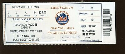October 2 2005  New York Mets Ticket Mike Piazza Last Mets Game