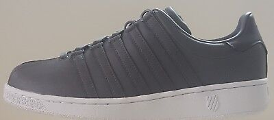K SWISS CLASSIC VN MENS *LUXURY EDITION*  *CHARCOAL / WHITE * LEATHER * Classic Luxury Mens White Shoes