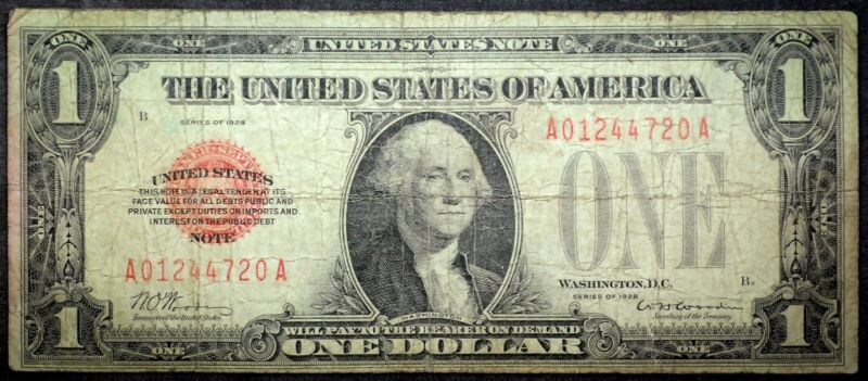 1928 Red Seal $1 United States Note US Currency Rare Date