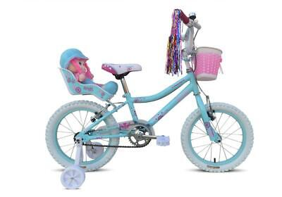 Tiger Grace Kids Girls Bike Bicycle with Doll and Basket - Green Pink 3 Sizes