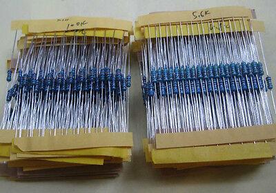 64 values 640pcs 1 ohm - 10M ohm 1/4W Metal Film Resistors  Assortment Kit