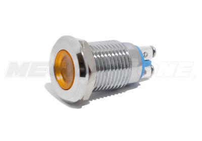 12mm Amber 12v Led Metal Indicator Light Waterproof Screw Terminal Usa Seller