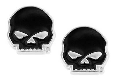 Harley-Davidson Women's Black Enamel Willie G Skull Post Style Earrings HDE0488