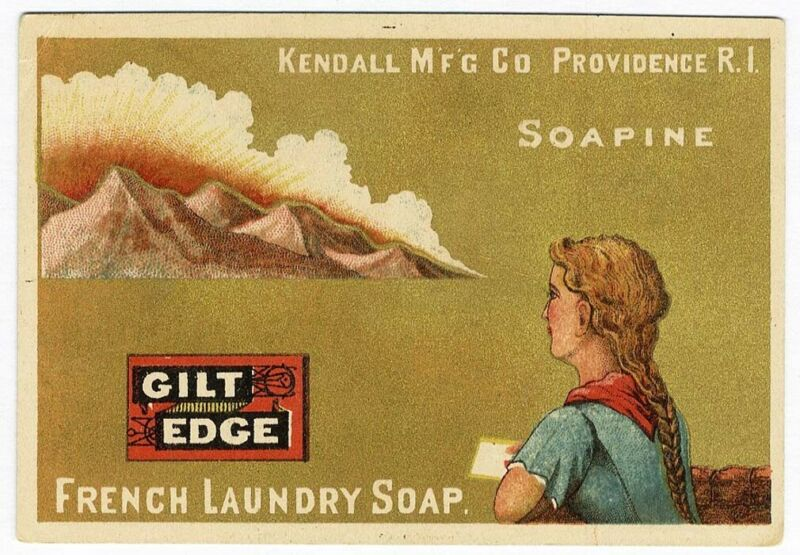 French Laundry Soap SOAPINE Victorian Trade Card Little Girl Mountains Clouds