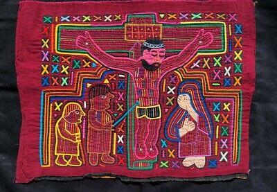 Machine Stitched Black Purple Mola Panel 1970/'s Small Size Cotton