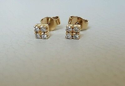 solid 19ct yellow gold 0.40ct Diamond set earrings