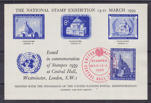 UN-New-York-Sc-61-on-1959-Semi-Official-Souv-Sheet-National-Stamp-Exhibition