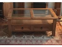 Real Wood, Glass Topped, 2 Drawer Coffee Table