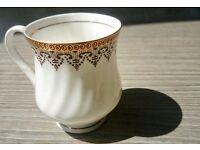 6 Klayman Tea Cups / Mugs Set - Unique Vintage Indian Bone China, PRISTINE Condition, Gold Detail