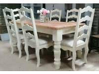 Solid pine shabby chic table and 6 chairs can deliver