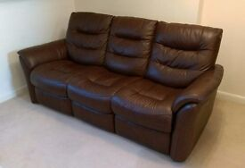 3 Seater Recliner Brown Leather Sofa (Sofology Brody)