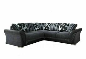 🔴EXCELLENT QUALITY🔵BRAND NEW SHANNON SOFA FABRIC & FAUX LEATHER LEFT / RIGHT CORNER/3+2 SEATER🎷