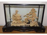 """Vintage Large Chinese Oriental Carved Cork Diorama Scene In Glass Case 17 3/4"""""""
