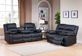 *~*~*BRAND NEW*~*~* LEATHER RECLINER SOFAS *~*~*FREE DELIVERY*~*~*