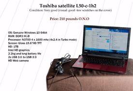 "Toshiba satellite 15.6"" 8gb/w10/4x1.6(4x2.4turbo)/1tb.hdd"