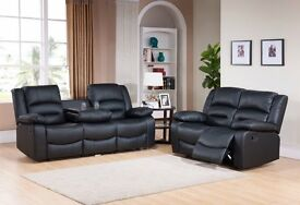 *-*-* SALE *-*-* NEW Leather Recliner Sofas Miami Black