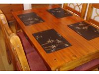 Unique solid real chunky dark deep wood handmade dining kitchen table set lounge 4 chairs rustic