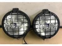 "Hella rallye 2000 pair spot lights fog driving lamps & grill covers 8.5"" van pickup 4X4 rally car"