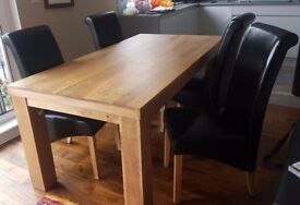 Dining Table & 4 Chairs: Mantis Light 6ft by Oak Furniture Land