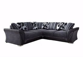 NEW LARGE SHANNON CORNER 5 SEATER GREY / BLACK FABRIC FAUX LEATHER SETTEE FARROW