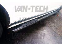 VW T5 T5.1 T6 SWB LWB Transporter Black Slashed End Side Bars with Four Steps
