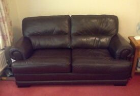 Brown leather suite (four pieces)