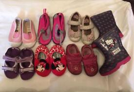 7 pairs of girls shoes size 4 infant