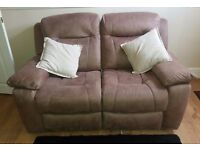 Brown canvas 2 & 3 seater reclining sofa 3 seater manual recliner 2 seater electric recliner