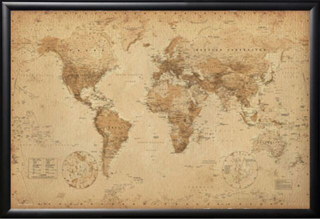 Framed world map antique for push pins tracking trips premium wood world map vintage framed black push pin map gumiabroncs Choice Image