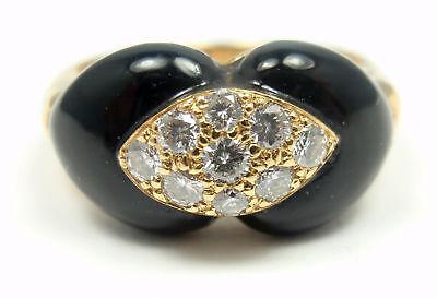 VAN CLEEF & ARPELS VCA 18K GOLD DIAMOND BLACK ONYX RING