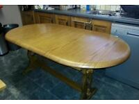 LARGE OAK TABLE with six free chairs