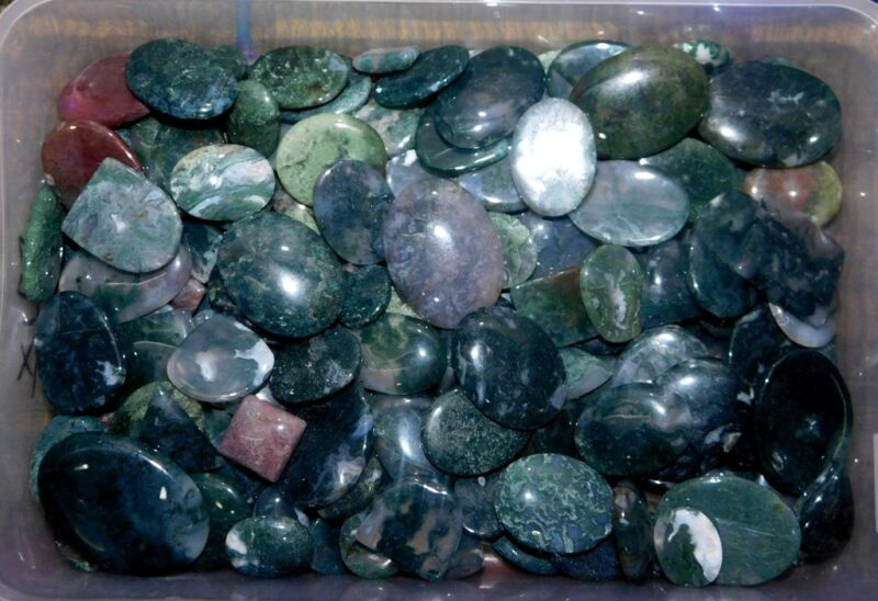 1000Cts A+++ Moss Agate Cabochon Natural Gemstone Wholesale Lot- 192
