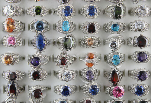 Wholesale Mixed Lot 30pcs Newest style Multicolor Imitate CZ Classic Women rings