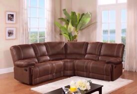 BEAUTIFUL NEW DESIGN CORNER RECLINER SOFA AVAILABLE IN BLACK AND BROWN COLOR SAME\NEXT DAY DELIVERY