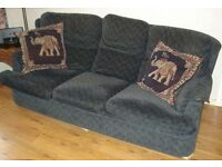3 Seater Settee Sofa with 1 Armchair, Dark Navy with small coloured lines