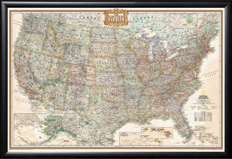 United States Map Professionaly Framed Perfect for Tracking Trips