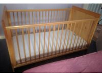 Baby Cot Bed with Mattress Good Condition