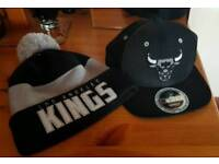 Chicago bulls cap and Los Angeles beanie hat