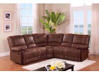 QUALITY ASSURED -BRAND NEW RECLINER CORNER SOFA WITH CUPHOLDERS IN BONDED LEATHER -SAME DAY