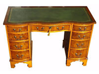 Bevan Funnell Antique Reproduction New Leather Top Pedestal Serpentine Front Desk (Key)