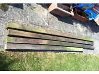 4 x ( 70 x 70 mm ) wooden fence post treated wood in very good condition - for sale £ 27 ovno