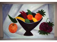 Picture painting oil on canvas stretched on frame Fruit Bowl 3ft x 2ft unknown artist