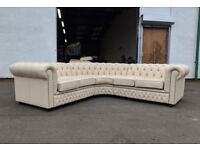 Saxon leather birch ivory chesterfield corner sofa DELIVERY AVAILABLE
