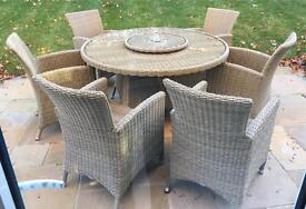Bramblecrest Garden Set with 6 armchairs & lazy Susan