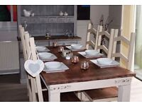 shabby chic solid jali wood rustic table and 6 chairs