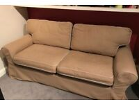 Ikea Ektorp Comfortable Beige Two Seater Metal Action Sofa Bed Good Condition