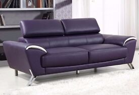 Brand New purple Real Leather 3 Seater Sofa Settee reclining headrests FAST LOCAL DELIVERY