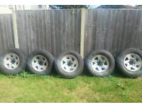 Set of 5 L200 alloys and tyres. Will fit an L400 and shogun