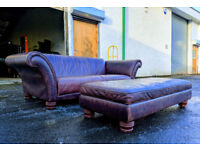 3 seater distressed brown leather sofa and large footstool DELIVERY AVAILABLE